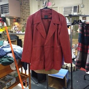 NYC red leather jacket